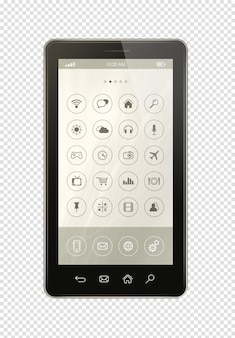 Smartphone con interfaccia icone app