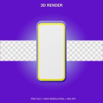 Smartphone con schermo vuoto e sfondo trasparente in design 3d