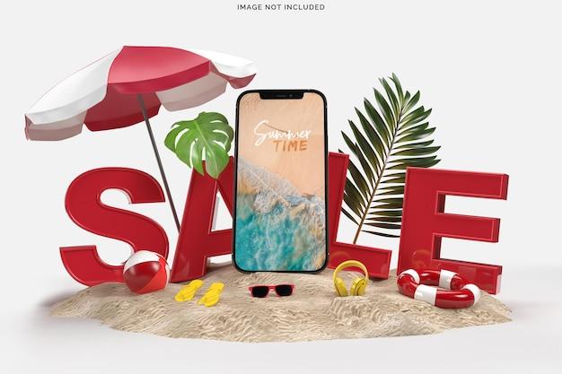 Smartphone con oggetti decorativi da spiaggia