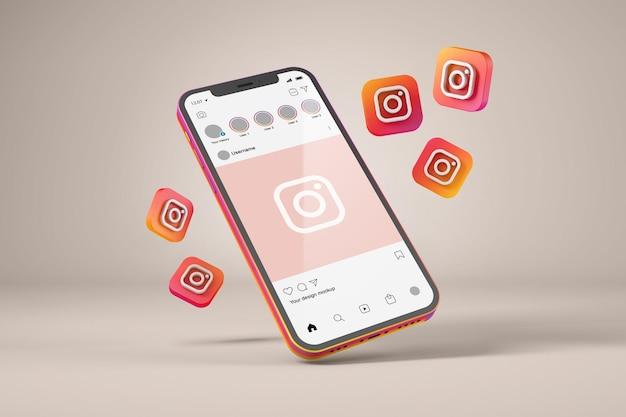 Smartphone con mockup di icone di instagram