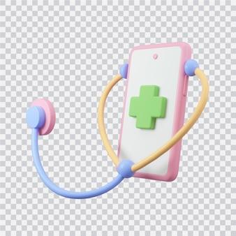 Smartphone con illustrazione 3d kit medico