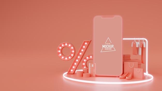 Smartphone con schermo mock-up, prodotto, negozio online e segno di percentuale su sfondo rosa, rendering 3d, illustrazione 3d