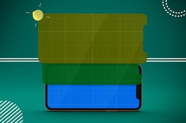 Smartphone con mockup di schermo multistrato