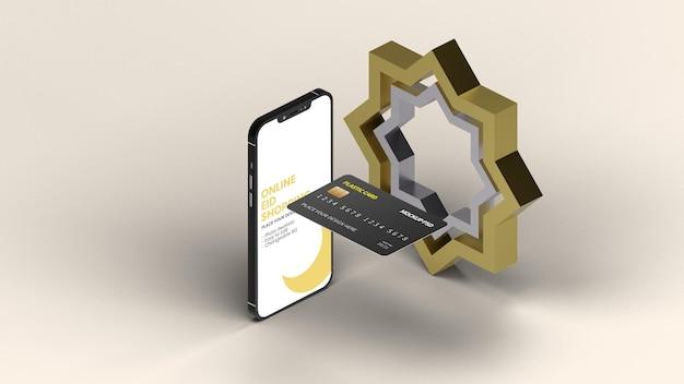 Smartphone con mockup bancario islamico di carta di plastica