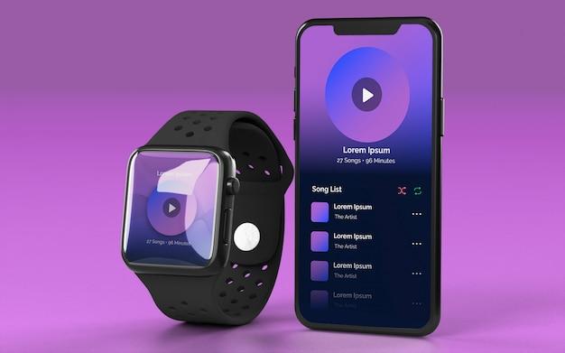 Smartwatch e smartphone mockup
