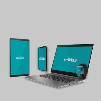 Smartwatch smartphone tablet e laptop mockup