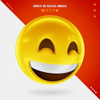 Emoji 3d sorridente che mostra i denti superiori