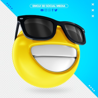 Emoji sorridente 3d con gli occhiali neri