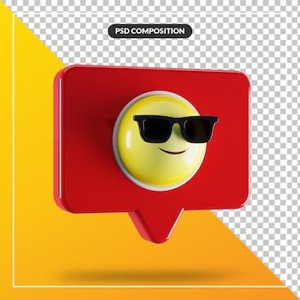 Faccina sorridente con gli occhiali da sole simbolo emoji nel fumetto