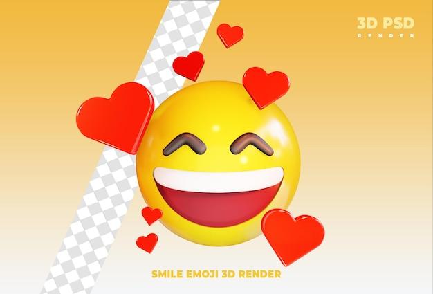 Sorridente molto felice emoji con amore 3d render icona distintivo isolato