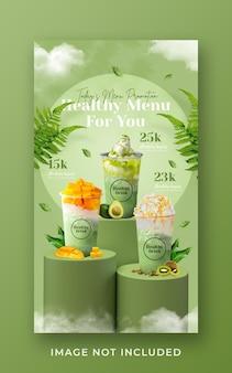 Modello di banner di storia di instagram di media sociali di promozione del menu di bevande salutari frullato