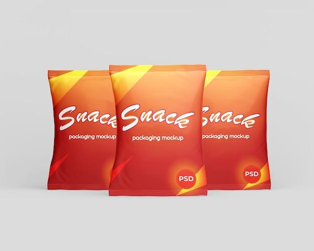 Mockup di imballaggio del sacchetto di snack