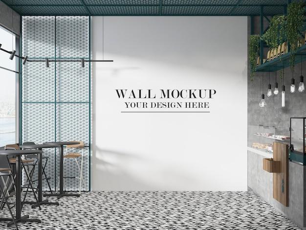 Mockup della parete del caffè dello snack bar
