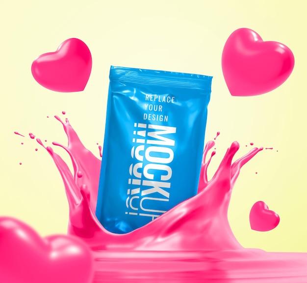 Mockup di snack bar che spruzza pubblicità del cuore