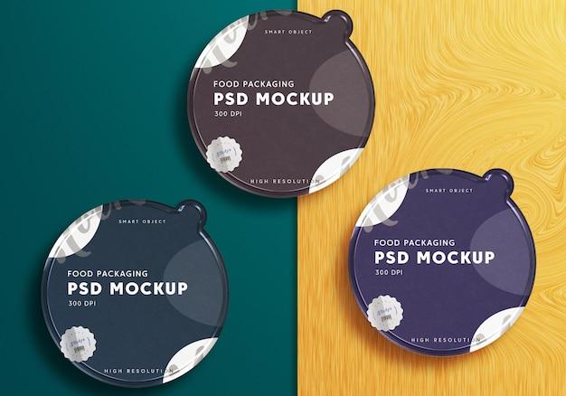 Progettazione di mockup di set di scatole di imballaggio per snack
