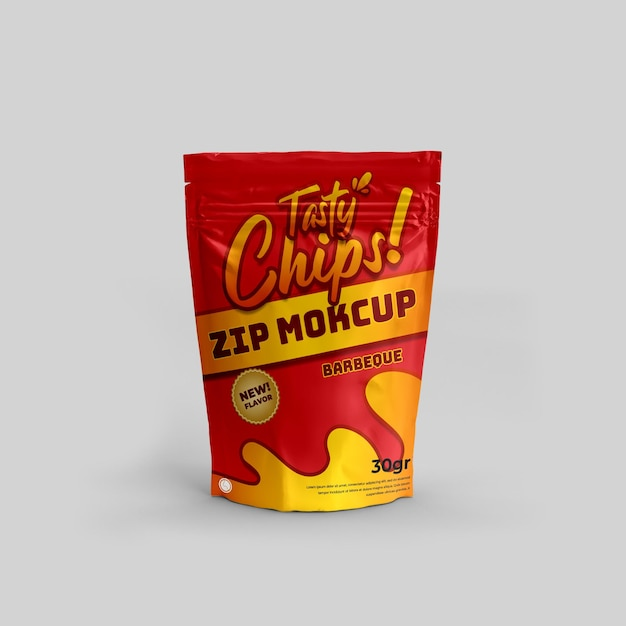 Confezione di alimenti realistici con chiusura a zip per snack e mockup di prodotti 3d per il branding