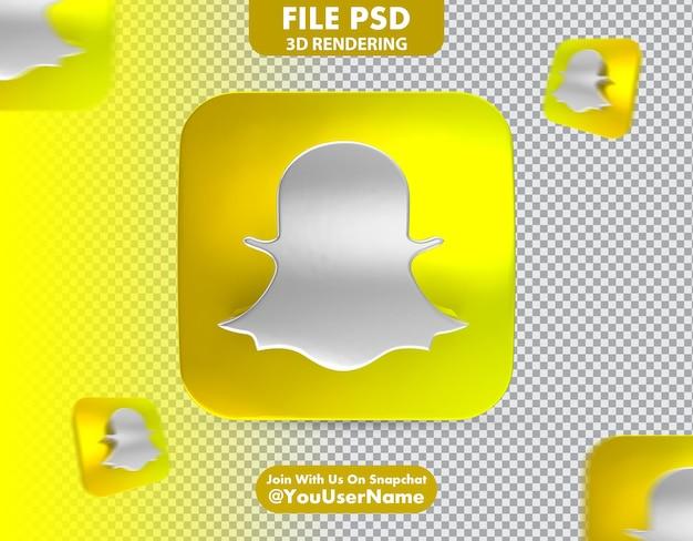 Rendering 3d dell'icona snapchat