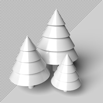 Mockup di rendering albero di natale neve isolato