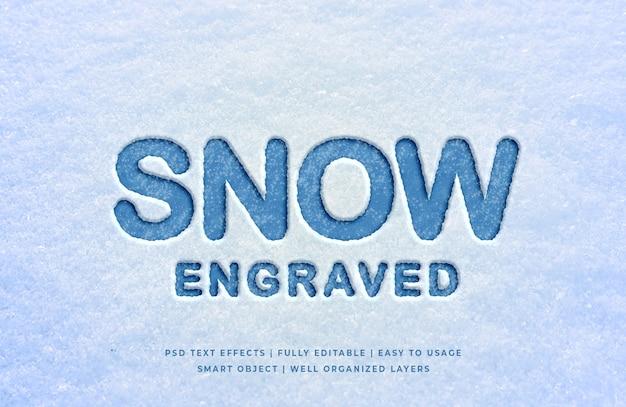 Effetto di testo 3d inciso a neve