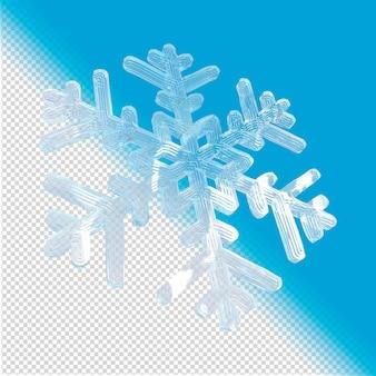 Fiocco di neve fatto di ghiaccio rendering 3d isolato