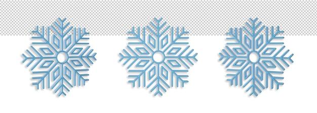 Fiocchi di neve in tre posizioni mockup. concetto di natale e capodanno