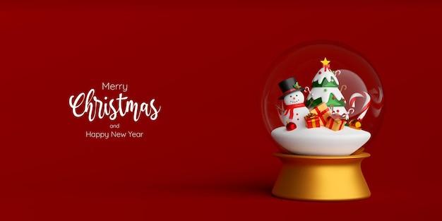 Pupazzo di neve e regalo di natale e albero nel globo di natale, illustrazione 3d