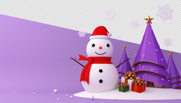 Pupazzo di neve, albero di natale e confezione regalo in rendering 3d