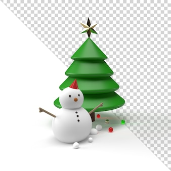 Pupazzo di neve e albero di natale isolato nel rendering 3d