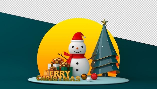 Pupazzo di neve e albero di natale con testo di buon natale nella rappresentazione 3d