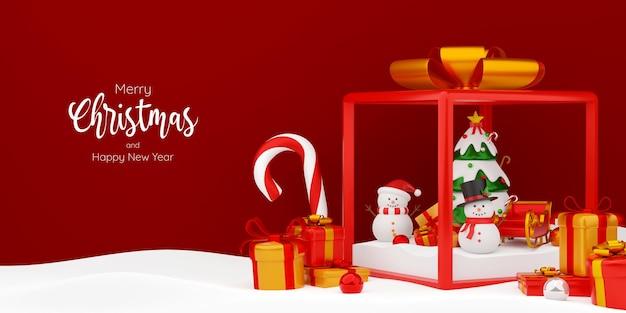 Pupazzo di neve e albero di natale in confezione regalo, illustrazione 3d