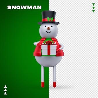 Regalo del pupazzo di neve nel rendering 3d