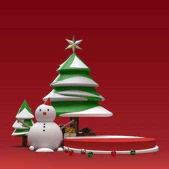 Pupazzo di neve con albero e regali scena di anteprima della fase di pubblicità del prodotto realistico