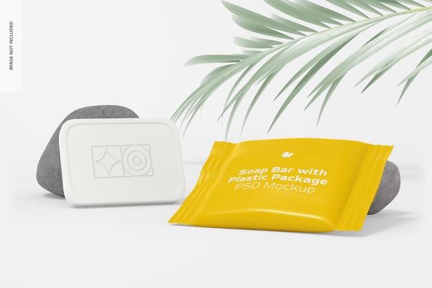 Saponetta con pacchetto di plastica mockup, vista prospettica