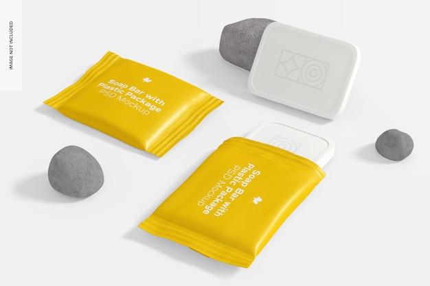 Barre di sapone con pacchetto di plastica set mockup