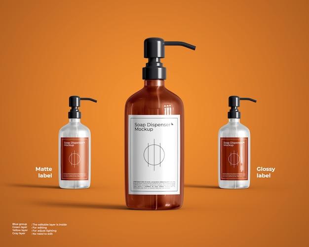 Mockup di bottiglia di vetro rotonda con dispenser di sapone