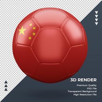 Vista frontale realistica della rappresentazione 3d della bandiera della cina del pallone da calcio