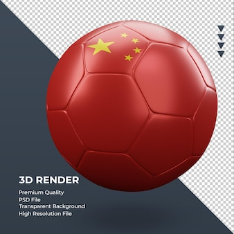 Pallone da calcio bandiera cina rendering 3d realistico vista sinistra