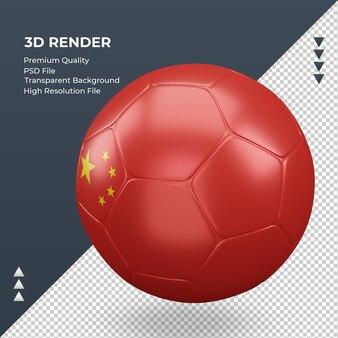 Pallone da calcio bandiera cina rendering 3d realistica vista giusta