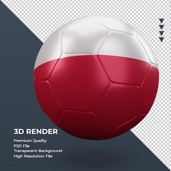 Pallone da calcio bandiera polonia rendering 3d realistico vista a sinistra