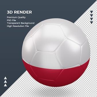 Pallone da calcio bandiera polonia rendering 3d realistico a destra vista