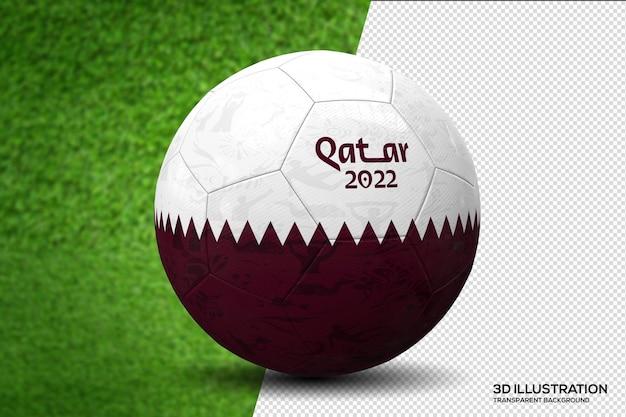 Pallone da calcio coppa del mondo qatar 2022 3d illustration