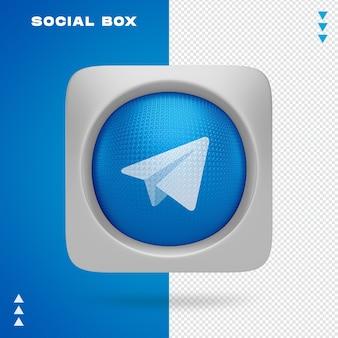 Icona sociale nella casella nel rendering 3d isolato