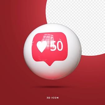 Icona social media 3d premium