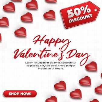 Mockup isometrico di celebrazione di san valentino 3d di media sociali