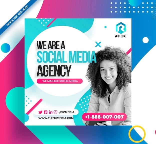 Social media agency square post banner di instagram Psd Premium