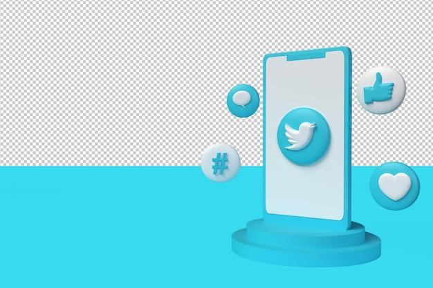 Sfondo dei social media con icona twitter, icona focolare, icona hastag e con telefono, rendering 3d