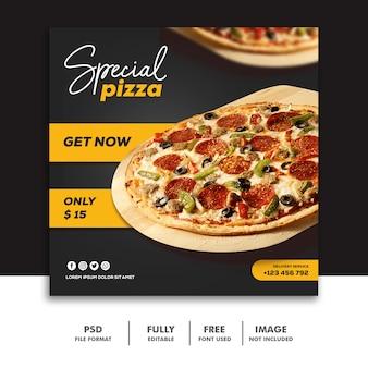 Social media banner post template pizza amante della carne alimentare