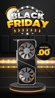 Social media black friday 50 off promozione instagram stories post template 3d render