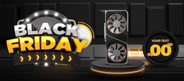 Modello di banner promozionale black friday per social media 3d render