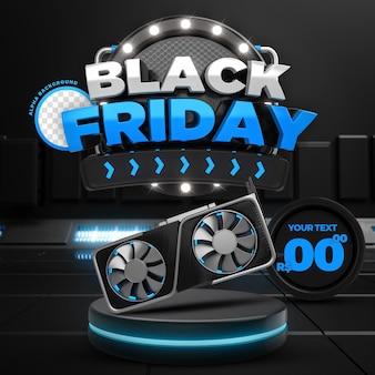 Social media blue black friday 50 off promozione instagram post template 3d render